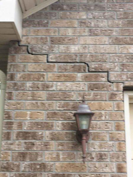 Crack in Brick Wall Before Foundation Repair